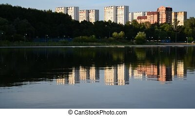 School Lake in sunset light in Zelenograd district of Moscow, Russia