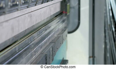 CNC hydraulic press brake without metal. Large machine try...