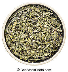 Sencha green tea - loose leaf sencha green tea in a ceramic...