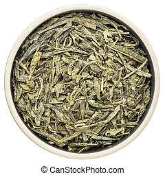 Sencha green tea - loose leaf sencha green tea in a ceramic...