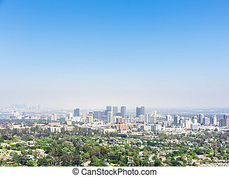 View of Los Angeles city downtown, California USA