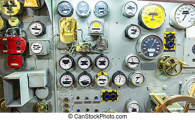 Engineering interior of aircraft carrier including pipes,...
