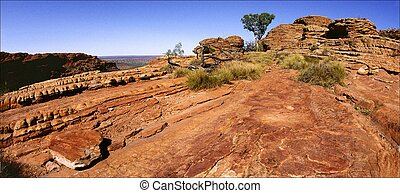 Kings Canyon rock. - Red stones. Solar and midday sun Kings...