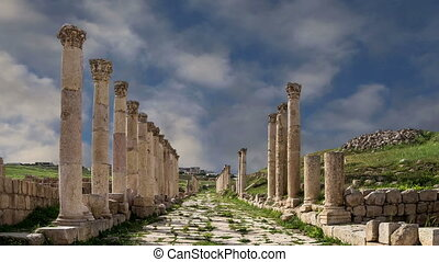 Roman ruins in the Jordanian city of Jerash (Gerasa of...