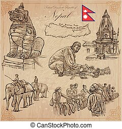Nepal - Pictures of life. Travel. Vector collection. Hand...