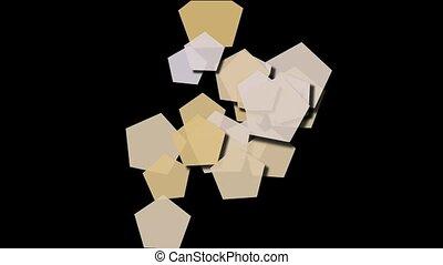 Beige pentagons moving,seamless loop