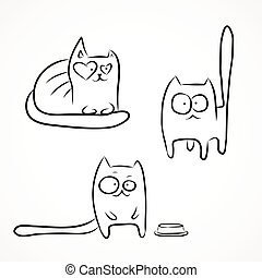 Funny cats - Set of hand drawn sketches of funny cats...