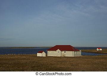 Bleaker Island Settlement - Farm buildings at the settlement...