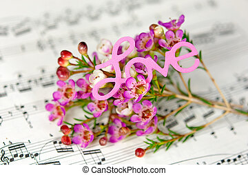 pink flowers with word love on music - close up of pink...