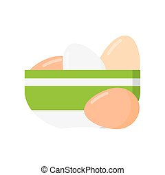 Chicken Eggs in White Plate, Vector Illustration. Isolated...