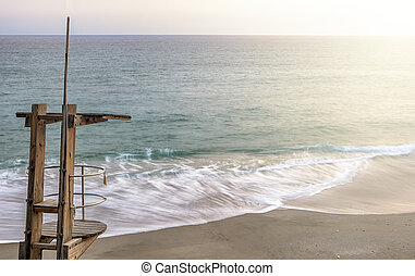 Wooden life guard station at Carabeo beach, Nerja, Spain