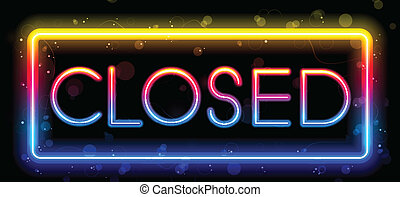 Closed Neon Sign Rainbow Color - Vector - Closed Neon Sign...