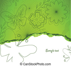 Illustration Flower and butterfly green background -...
