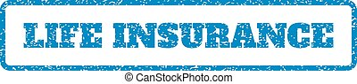Life Insurance Rubber Stamp - Blue rubber seal stamp with...