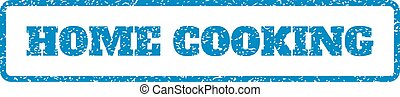 Home Cooking Rubber Stamp - Blue rubber seal stamp with Home...