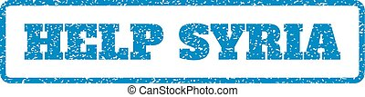 Help Syria Rubber Stamp - Blue rubber seal stamp with Help...