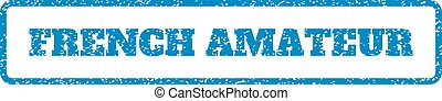 French Amateur Rubber Stamp - Blue rubber seal stamp with...