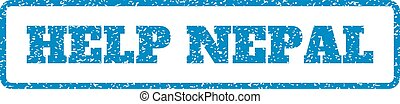 Help Nepal Rubber Stamp - Blue rubber seal stamp with Help...