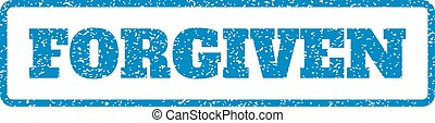 Forgiven Rubber Stamp - Blue rubber seal stamp with Forgiven...