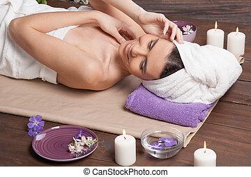 girl Spa massage sauna relaxation bath