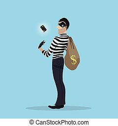 A thief stole a credit card with money. Robber with a bag of...