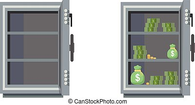 Empty and full of money safes