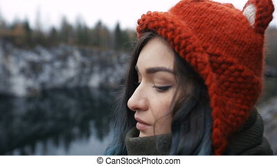 Pretty nice girl enjoy beautiful lake view from the hilltopl...