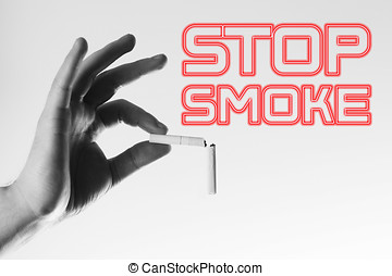 hand with a broken cigarettes isolated, concept of healthy...