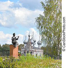 Monument Vologda peasant girl and Church of St. John Chrysostom.