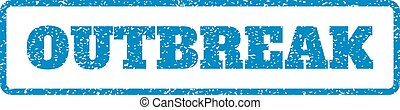 Outbreak Rubber Stamp - Blue rubber seal stamp with Outbreak...