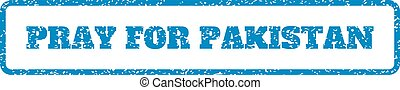 Pray For Pakistan Rubber Stamp - Blue rubber seal stamp with...
