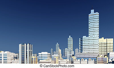 Modern high rise buildings against blue sky - Abstract...
