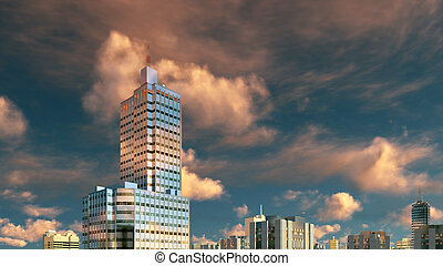 Abstract high rise buildings and sunset sky - Abstract...