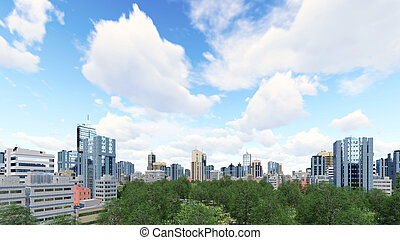 High rise buildings and green park zone - Abstract city...