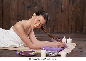 girl Spa massage sauna relaxation bath
