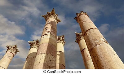 Roman Columns in the Jordanian city of Jerash (Gerasa of...