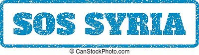 Sos Syria Rubber Stamp - Blue rubber seal stamp with Sos...