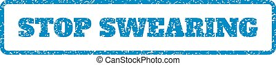 Stop Swearing Rubber Stamp - Blue rubber seal stamp with...
