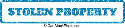Stolen Property Rubber Stamp - Blue rubber seal stamp with...