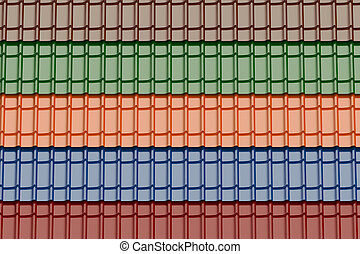 set of colored roof tiles background, 3D rendering