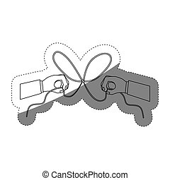 Hand and bowtie rope design - Hand and bowtie rope icon....