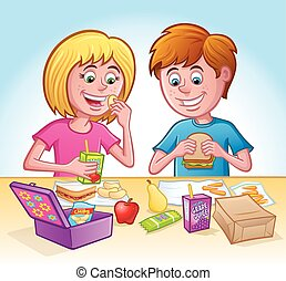 Girl and Boy Eating Lunch at School - Cartoon of a girl and...