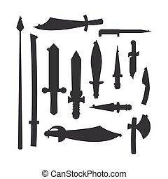 Knifes weapon vector illustration. - Knife weapon dangerous...