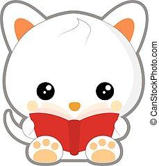 cute cat reading a red book