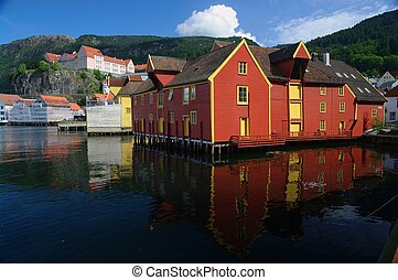 Old, Harborside wooden buildings. Bergen, Norway - Bergen,...