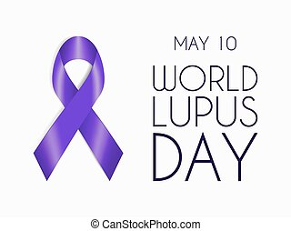 Purple ribbon isolated on white background. World Lupus Day symbol. Sign of support for people with autoimmune disease.