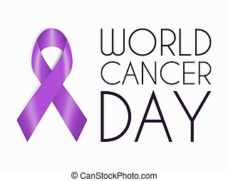 Realistic purple ribbon, world cancer day symbol, sign of support. February 4 banner with plum tape concept.