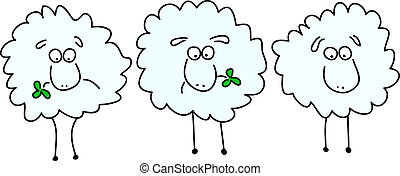 Animated sheep chewing on clover - Illustration of three...