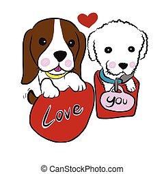 Puppy couple cartoon illustration