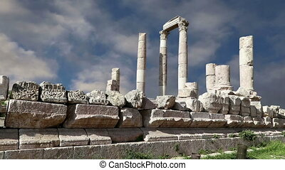 Amman city landmarks-- old roman Citadel Hill, Jordan
